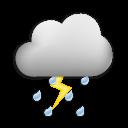 Symbolgrafik: meist stark bewölkt, Regen, teils Gewitter