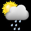 Symbolgrafik: wechselhaft mit leichten Regenschauern, wenig Sonne