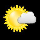 Symbolgrafik: sonnig und trocken mit vorüberziehenden Quellwolken