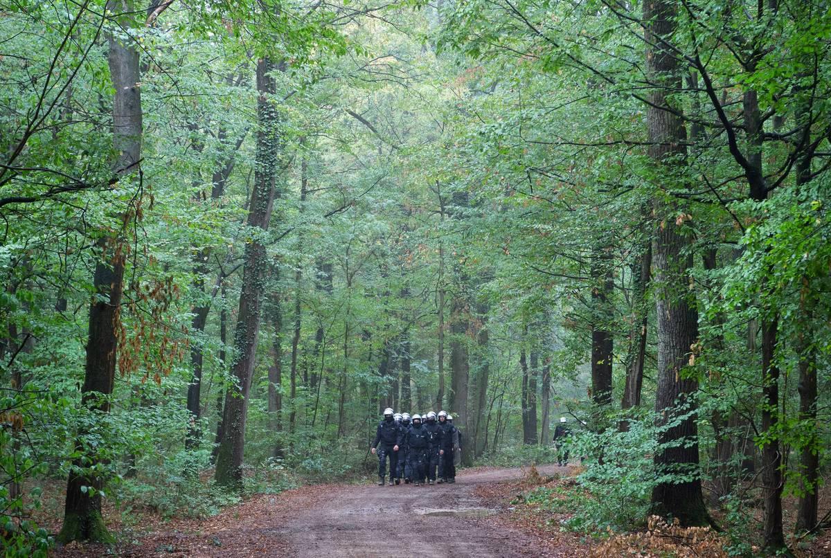 Attacke von Aktivisten: Polizist gibt Warnschuss im Hambacher Forst ab
